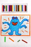 Drawing: Cute blue monster with four hands. Colorful drawing: Cute blue monster with four hands and orange eyes stock photo