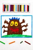 Drawing: Cute brown monster with six hands. Colorful drawing: Cute brown monster with six hands royalty free stock photos