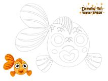 Drawing the cute cartoon fish and color. educational game for ki. Ds. Vector illustration. children and educational Royalty Free Stock Images