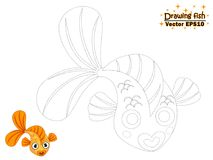 Drawing the cute cartoon fish and color. educational game for ki. Ds. Vector illustration. children and educational Stock Photo