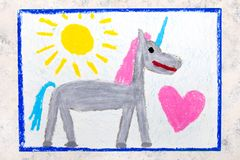 Free Drawing: Cute Gray Unicorn And Big Pink Heart Royalty Free Stock Photography - 131749287