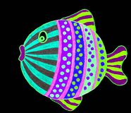 Drawing of cute little fish. stock illustration