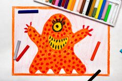 Drawing: Cute orange monster with one eye. Colorful drawing: Cute orange monster with one eye royalty free stock images
