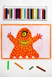 Drawing: Cute orange monster with one eye. Colorful drawing: Cute orange monster with one eye royalty free stock photos