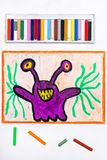 Drawing: Cute purple monster with funny eyes. Colorful drawing: Cute purple monster with funny eyes royalty free stock photography