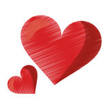 Drawing cute red heart love romantic symbol. Vector illustration eps 10 Stock Photo