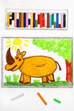 Drawing: cute smiling rhinoceros in forest. Colorful drawing: cute smiling rhinoceros in forest royalty free stock photo