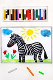 Drawing: Cute smiling zebra,. Colorful drawing: Cute smiling zebra, wild animal stock photo