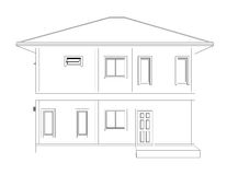 Drawing of 3D home building (back view). Blueprint drawing of 3D home building (back view Stock Images