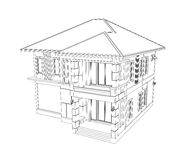 Drawing of 3D home building Stock Image