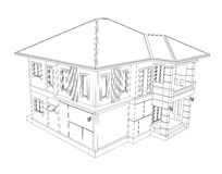 Drawing of 3D home building Stock Photos