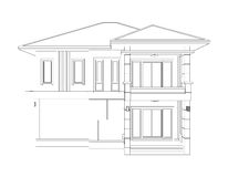 Drawing of 3D home building (front view). Blueprint drawing of 3D home building (front view Stock Images