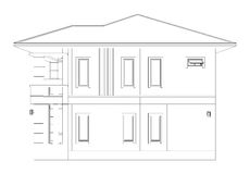 Drawing of 3D home building (side view). Blueprint drawing of 3D home building (side view Royalty Free Stock Photos