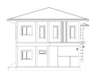 Drawing of 3D home building (side view). Blueprint drawing of 3D home building (side view Stock Photos