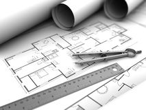 Drawing. 3d illustration of house plan drawing blueprints Royalty Free Stock Photography