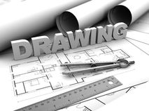 Drawing. 3d illustration of drawing text and compass, over blueprints Royalty Free Stock Photography