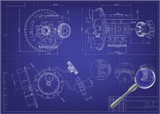 Drawing and 3d model gear mechanism on a blue. Background Royalty Free Stock Image