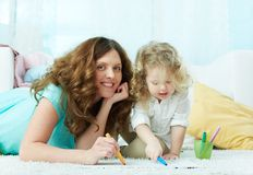 Drawing with daughter Stock Photos