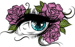 Blue eye surrounded by pink roses Royalty Free Stock Images