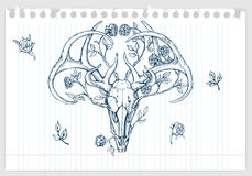 Drawing of deer skull with horns decorated Royalty Free Stock Photo