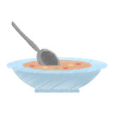Drawing delicious soup plate spoon food hot. Drawing delicious soup plate food hot vector illustration eps 10 Stock Images
