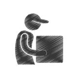 Drawing delivery man cardboard box with cap figure pictogram. Illustration eps 10 Stock Images