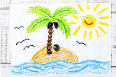 Drawing: a desert island Royalty Free Stock Images