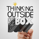 Drawing design word THINKING OUTSIDE OF THE BOX Royalty Free Stock Photos