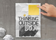 Drawing design word THINKING OUTSIDE OF THE BOX Royalty Free Stock Photo
