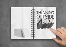 Drawing design word THINKING OUTSIDE OF THE BOX Stock Photo