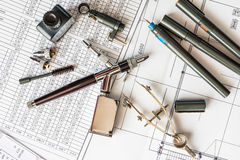 Drawing desk with tools for drawing stock photography