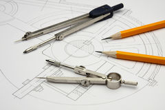The drawing of the detail. Pencils and compasses Stock Images