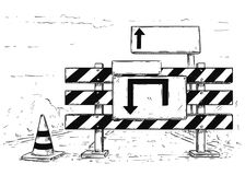 Drawing of Detour Road Block with Empty Blank Sign. Vector cartoon drawing of road traffic block stop detour with empty blank sign boards Stock Image