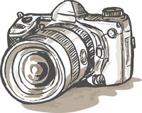 Drawing digital SLR camera vector illustration