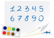 Drawing digits Stock Images
