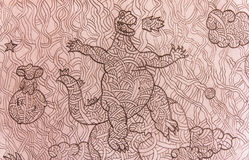 Drawing of  dinorsaur. Drawing of dinorsaur, this picture was drawn by my son when he was seven years old Royalty Free Stock Images