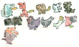 Drawing Dinosaur Royalty Free Stock Images
