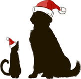 Drawing of a dog and a cat in Christmas hats silhouettes royalty free illustration