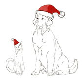Drawing of a dog and a cat in Christmas hats Royalty Free Stock Photography