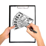 Drawing dollar Royalty Free Stock Images