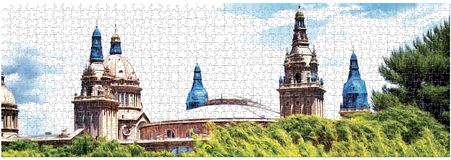 Drawing domes National Art Museum of Catalonia on the restoration in the design of the puzzle. Panorama. vector illustration