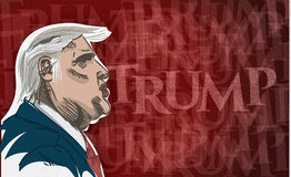 Drawing of Donald Trump. Caricature drawing of Donald Trump with the word Trump in the background. American Republican presidential candidate Stock Image