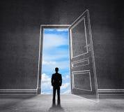 Drawing door to blue sky Stock Photo