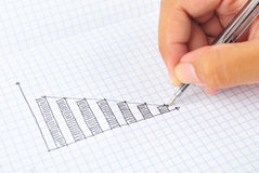 Drawing down graph Stock Photos