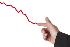Drawing a downward graph Royalty Free Stock Image