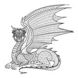 Drawing Dragon For Coloring Book. Stock Images