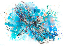 Drawing dragonfly watercolor. Print dragonfly, hand-drawn watercolor. Bright rich colors, water spots vector illustration