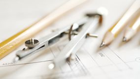 Drawing and drawing tools, compasses, pencils, ruler. The concept of teaching in high school architecture stock video