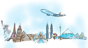 Drawing the dream travel aroun the world Stock Images