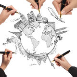 Drawing the dream travel around the world. In a whiteboard Royalty Free Stock Images
